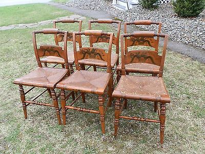 Spectacular Set Of Six Signed Hitchcock Chairs With Orig'l Paint And Rush Seats
