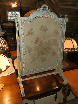 Gorgeous Ornate Victorian Fire Screen W/ French Tapestry & Intricate Carvings