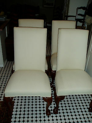 Set Of 4 Massive Carved Chippendale Grandfather Chairs
