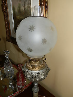 BEAUTIFUL ELECTRIFIED ANTIQUE  VICTORIAN  BANQUET LAMP W/ETCHED SHADE