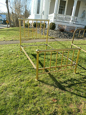 Gorgeous  Vintage  Tubular  Brass 3/4 Bed W/original Iron Rails
