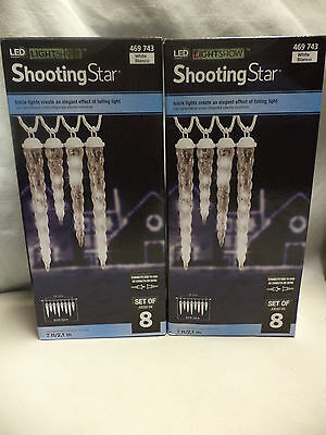 NEW- 2 Boxes Light Show Shooting Star White Icicle- 8 Per Box-Gemmy