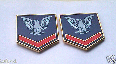 1 PAIR (2) U.S. NAVY PETTY OFFICER 3RD CLASS Military Veteran Rank Pins 14396 HO