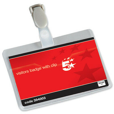 25 Cheap Name//Visitor//ID Badges /& Clip 60x90 © 394003