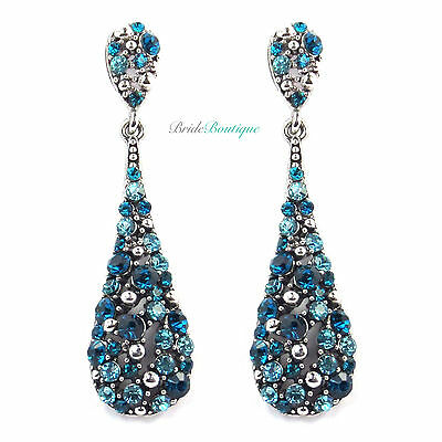 Teal & Aqua Blue Crystal Diamante Long Teardrop Dangling Dangly Drop Earrings
