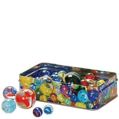 Marbles In A Tin 3 Different Sizes Glass Balls Metal Fun Kids