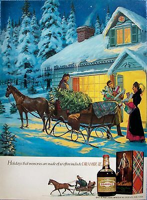 1976 Drambuie Horse Snow Sleigh Christmas Tree Gifts Warm Lights Home Schultz ad