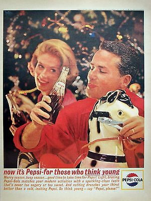 1963 Pepsi Cola Christmas Tree Toy Rocking Horse Think Young ad
