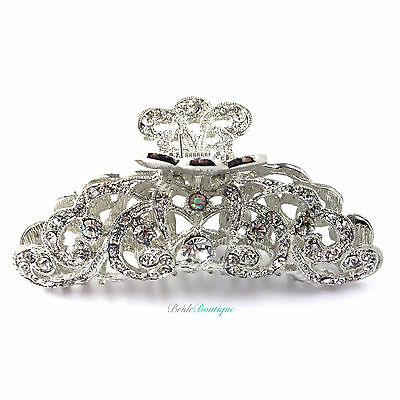 Wedding Prom Silver & AB Crystal Large Vintage Hair Claw Clip Grip Clamp CL02
