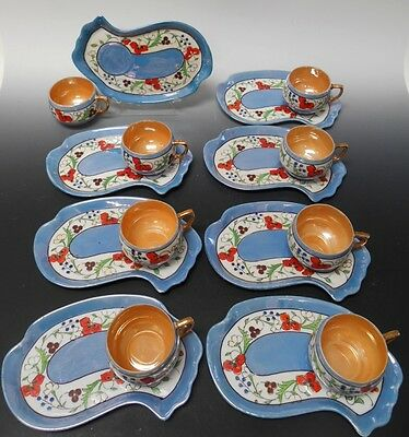 Nippon Japan 8 Sets 16 Piece Luncheon Snack Tray and Cup Lusterware Vintage