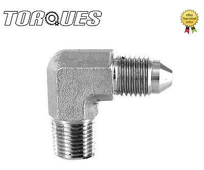 """AN-4 (4AN AN04) to 1/8"""" NPT 90 Degree Stainless Steel Adapter"""
