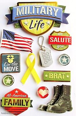 Paper House 3-D  Stickers - Dog Tags Flag Hero Usa Army - Military Life