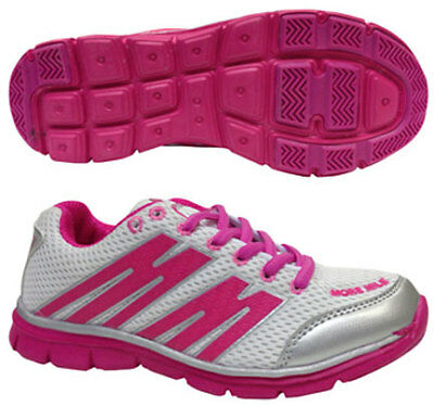 More Mile Junior Kids Girls Oslo Childrens Training Shoes Trainers White/Pink