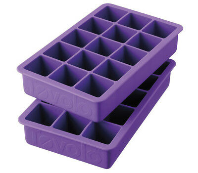 Tovolo Perfect Cube Silicone Ice Trays Set of 2, Vivid Violet