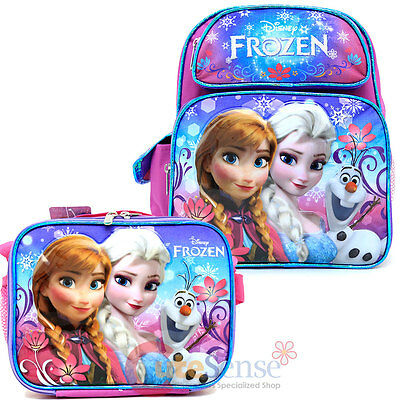 "Disney Frozen Elsa Anna 12"" School Backpack Lunch Bag Floral Flakes 2pc Set"