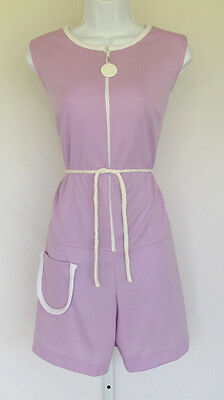 VINTAGE 1960s 70s MOD JUMPER PLAYSUIT LADY MANHATTAN PURPLE BELT WHITE SIZE 14