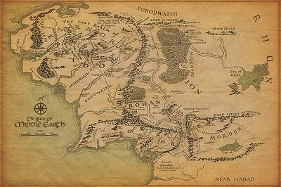 """The Reaml Map of Middle Earth The Lord Of The Rings Brown  Hot Canvas 36""""x24"""""""