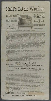 1869 ADVERTISING BROADSHEET for HALL'S LITTLE CLOTHES WASHER -PROVIDENCE
