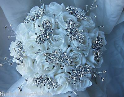 Wedding Rose Butterfly Brooch Diamante Bouquet Posy White Silver Handtied Bride