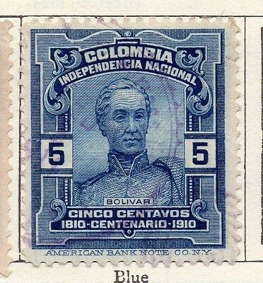 Colombia 1910 Early Issue Fine Used 5c. 105557