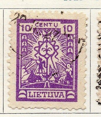 Lithuania 1923 Early Issue Fine Used 10c. 104216