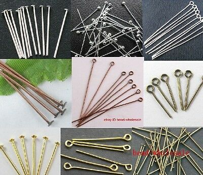 100pcs Nice Silver/Golden Head/Eye/Ball Pins Finding 21 Gauge