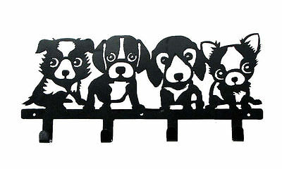 """Brand New PUPPY DOG Themed Wall Hanging METAL HAT OR COAT HOOK, Rack 16"""" x 7.25"""""""