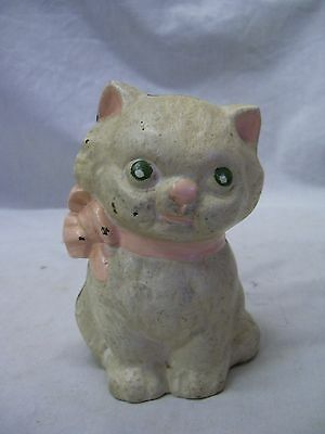 Antique Hubley Cast Iron Cute White Cat With Pink Ribbon Bank Early 1900's
