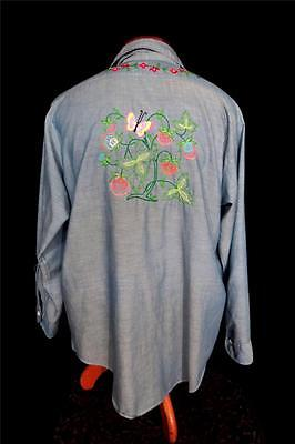 Rare Vintage 1970's Hippie Cotton Blendfloral Embroidered Chambray Shirt Size Xl