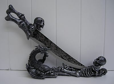 HD24151D OBSIDIAN ATHAME SKULL KNIFE STATUE FIGURINE DECORATION