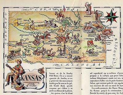 1940s Vintage KANSAS State Map Antique Animated Picture Map of Kansas Art