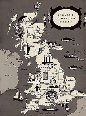 Charming ENGLAND SCOTLAND WALES Map  Fun 1960s Picture Map