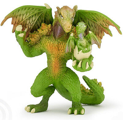NEW PAPO 39089 Green Dragon of the Forest with Hatchling In Hand - RETIRED