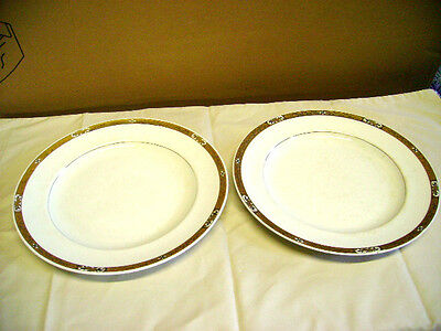 TWO BOOTHS  Ltd   DINNER PLATES WITH A GOLD AND BLACK PATTERN TO RIM