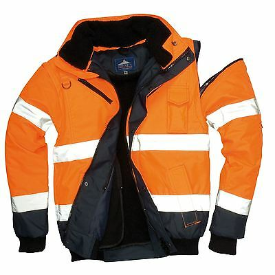 Portwest 3in1 Bomber Jacket Work Padded HI VIS Zip-Out Sleeves XS - 6XL C465