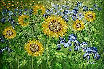 Van Gogh Sunflower and Irises field Repro IX, Hand Painted Oil Painting, 24x36in