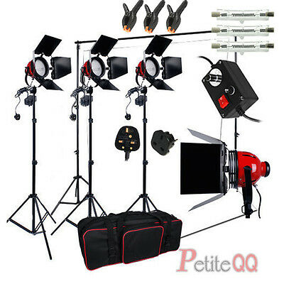 2400W Red Head Continuous Light Kit Video White Backdrop Background Stand Set UK