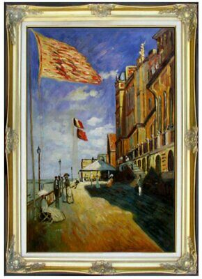 Framed Hand Painted Oil Painting Repro Monet Hotel des Roches Noires 24x36in