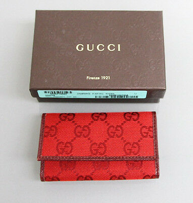 New Authentic GUCCI GG Canvas/Leather Key Chain/ Holder, w/Box, Red,260989 6485