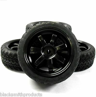 A20156 1/10 On Road Soft Tread Car RC Wheels and Tyres 7 Spoke Black x 4