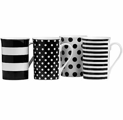 Set Of Black White Dotted Stripes Porcelain Tea Coffee Beverage Drinks Cups Mugs