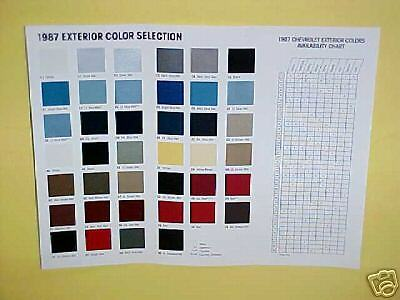 1987 Chevrolet Camaro Monte Carlo Ss Car Color Chart Paint Chips Brochure 87 Oem