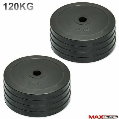 "Olympic Bumper Rubber Disc Weight Plates Barbell Bar 2"" Crossfit Gym 120kg Set"