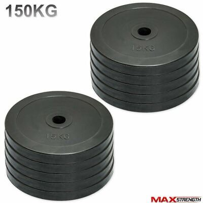 "150kg 2"" Rubber Olympic Disc Weight Plates Powerlifting Gym Weightlifting"