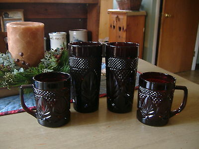 Luminarc Arcoroc Ruby Red 2 Tumblers/Glasses & 2  Mugs Made In France Mint!!