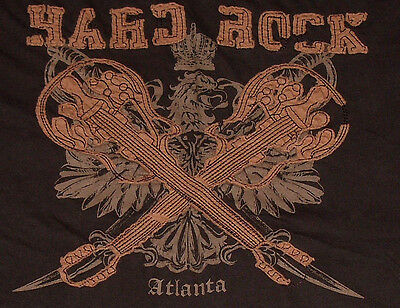 Hard Rock Cafe Atlanta T-Shirt Brown Size M Distressed Style Eagle Guitars
