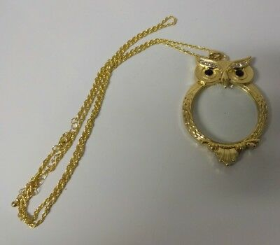 NICE Vintage Fancy Owl Ornate Gold Tone Magnifying Glass Pendant  Long Necklace