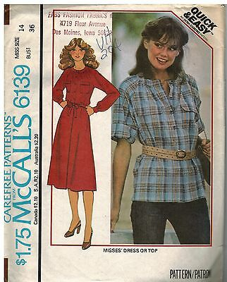 6139 Vintage Mccalls Sewing Pattern Misses Quick Easy Pullover Dress