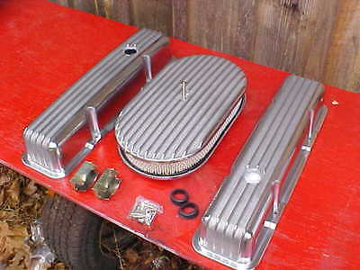 tall polished finned valve cover and 15'' finned air cleaner kit,SBC,rat rod 350