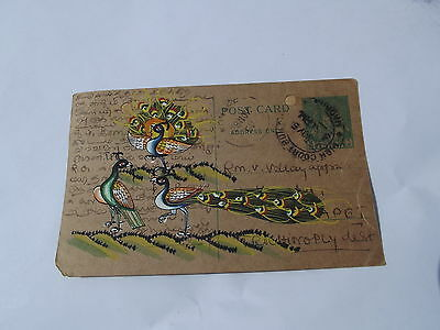 A Lovely Old Rajasthan Miniature Painted Indian Postcard Of Peacocks  No 157